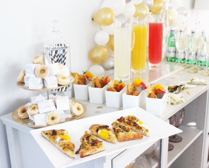 A Breakfast Pizza Mimosa Station